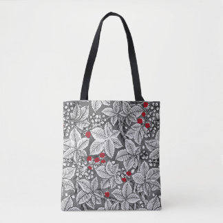 Art Nouveau Strawberries and Leaves, Silver Gray Tote Bag