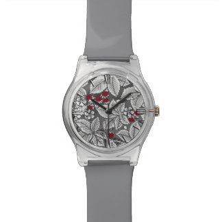 Art Nouveau Strawberries and Leaves, Silver Gray Watch