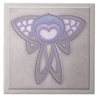 Art Nouveau Style Insect - Pale Mauve and Lavender Tile