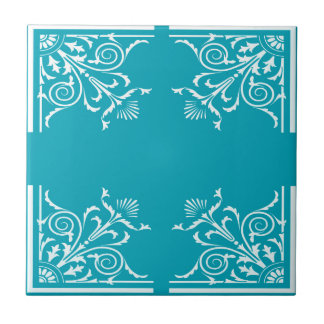 Art nouveau style pattern in blue green and white tile