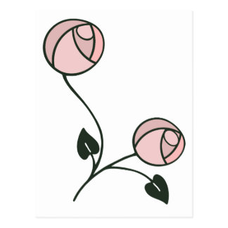 Art Nouveau Style Roses in Pink and Mauve Postcard