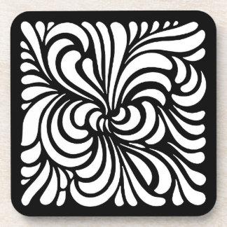 Art Nouveau Stylized Leaves, Black and White Coaster