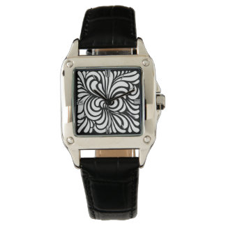 Art Nouveau Stylized Leaves, Black and White Watch