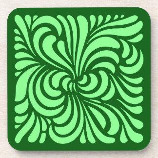 Art Nouveau Stylized Leaves, Emerald Green Coaster