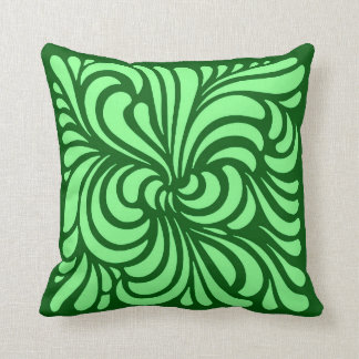 Art Nouveau Stylized Leaves, Emerald Green Throw Pillow