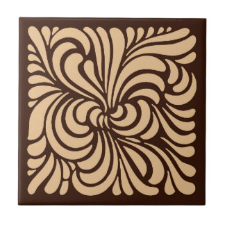Art Nouveau Stylized Leaves, Tan and Dark Brown Tile
