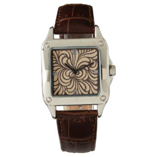 Art Nouveau Stylized Leaves, Tan and Dark Brown Watch