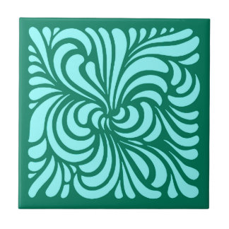 Art Nouveau Stylized Leaves, Turquoise and Aqua Tile