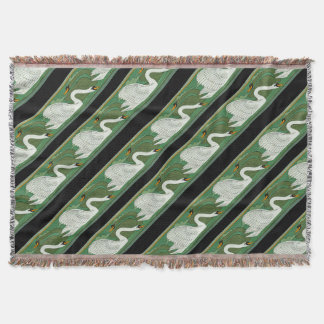 Art Nouveau Swan Birds Stripes Throw Blanket