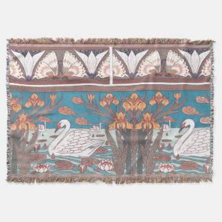 Art Nouveau Swan Birds Wildlife Animals Throw