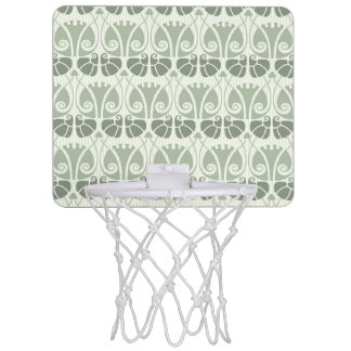 Art nouveau,teal,beige,floral,belle époque,vintage mini basketball hoop