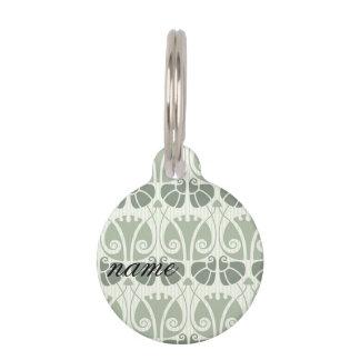 Art nouveau,teal,beige,floral,belle époque,vintage pet tag