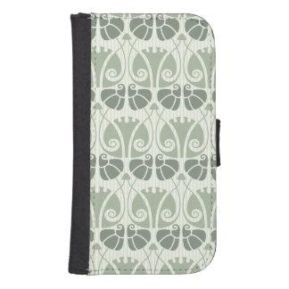 Art nouveau,teal,beige,floral,belle époque,vintage samsung s4 wallet case