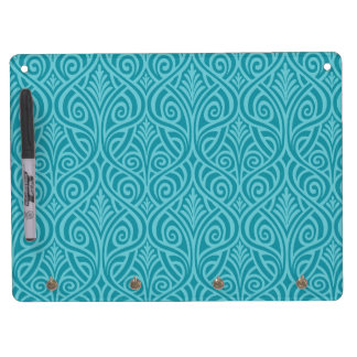 art nouveau, teal,green,art deco, vintage,damask,f dry erase board with keychain holder