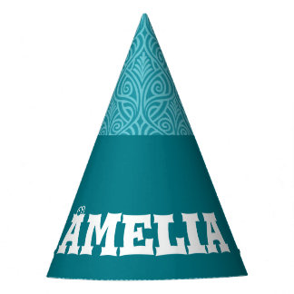 art nouveau, teal,green,art deco, vintage,damask,f party hat