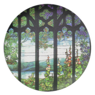 Art Nouveau Tiffany Stained Glass Dinner Plate