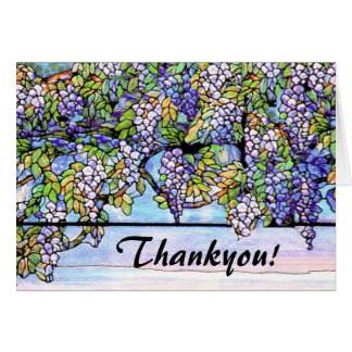 Art Nouveau Tiffany Stained Glass Flowers Card
