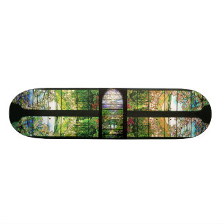 Art Nouveau Tiffany Stained Glass Flowers Skate Deck