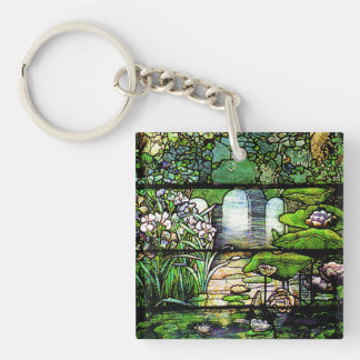 Art Nouveau Tiffany Stained Glass Nature Keychain