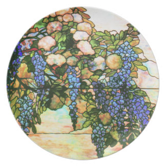 Art Nouveau Tiffany Stained Glass Nature Plate