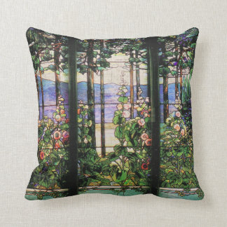 Art Nouveau Tiffany Stained Glass Nature Throw Pillow