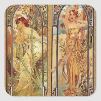 Art Nouveau Times of Day Square Sticker