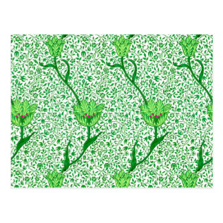Art Nouveau Tulip Damask, Emerald Green Postcard