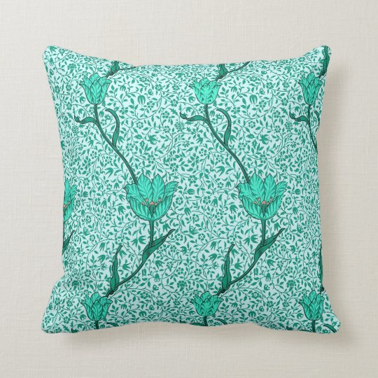 Art Nouveau Tulip Damask, Turquoise Throw Pillow