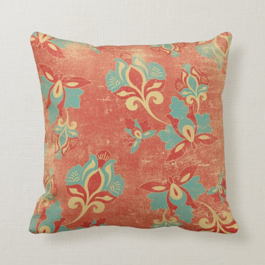 Art Nouveau Turquoise Orange Floral Throw Pillow