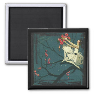 Art nouveau/ victorian ballerina in a cherry tree magnet