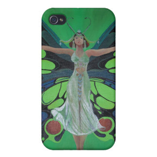 Art Nouveau Vintage Flapper With Butterfly Wings Case For The iPhone 4