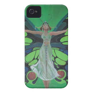 Art Nouveau Vintage Flapper With Butterfly Wings iPhone 4 Case-Mate Case