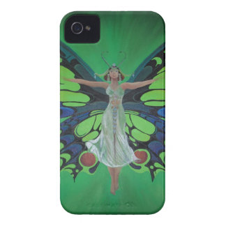 Art Nouveau Vintage Flapper With Butterfly Wings iPhone 4 Cover