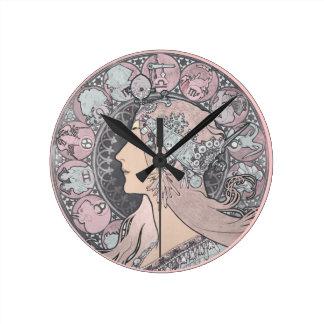 Art Nouveau Vintage Woman Round Clock