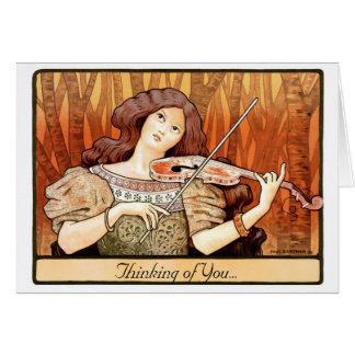 Art Nouveau Violin Girl Card