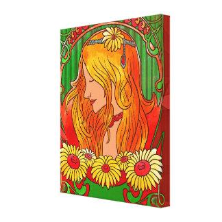 Art Nouveau Watercolor Womanw/Sunflowers Art Canvas Print
