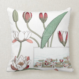Art Nouveau Waterlily Flower Floral Water Garden Throw Pillow