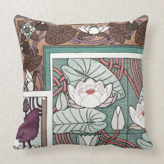 Art Nouveau Waterlily Flowers Lilypad Throw Pillow