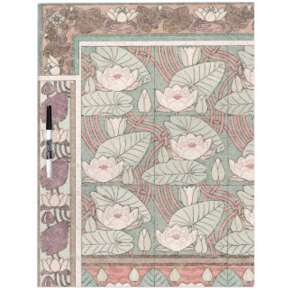 Art Nouveau Waterlily Lotus Flower Dry Erase Board