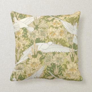 Art Nouveau White Doves with Lilies Pillow