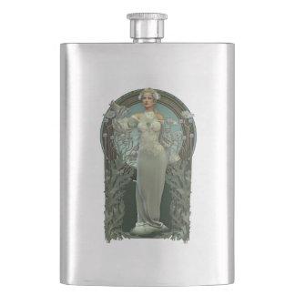 Art Nouveau White Lady Classic Flask