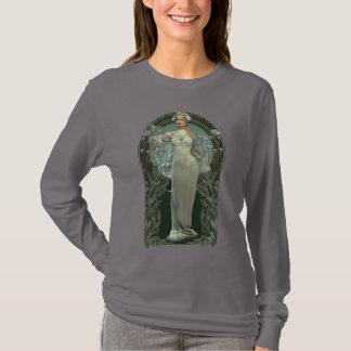 Art Nouveau White Lady Dark Long Sleeve T-Shirt