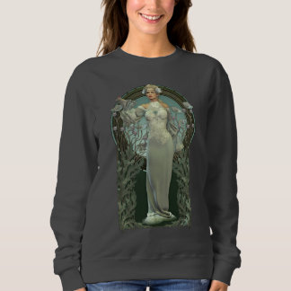 Art Nouveau White Lady Dark Sweatshirt