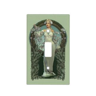 Art Nouveau White Lady Light Switch Cover