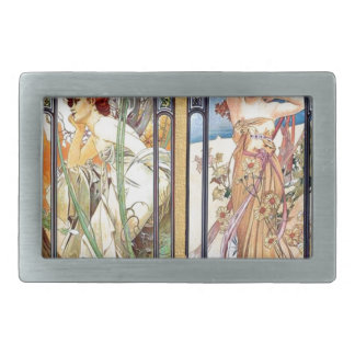 Art Nouveau Windows Rectangular Belt Buckle