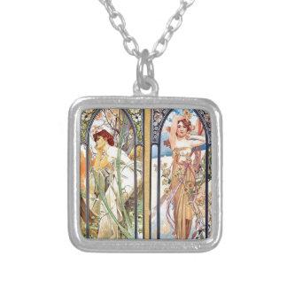 Art Nouveau Windows Silver Plated Necklace