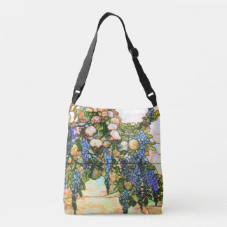 Art Nouveau Wisteria Flowers Floral Stained Glass Crossbody Bag