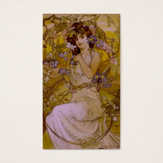 Art Nouveau Woman with Clematis Business Card