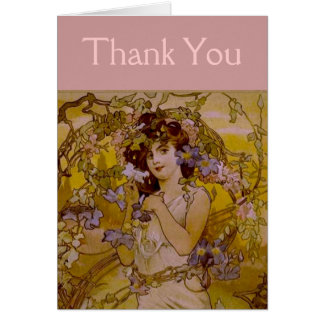 Art Nouveau Woman with Clematis Greeting Card