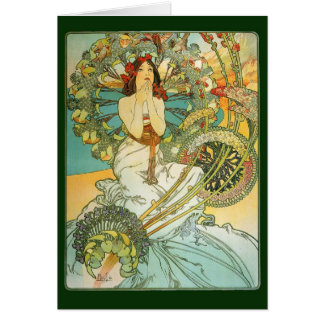 Art Noveau Lady and Birds Note or Greeting Card